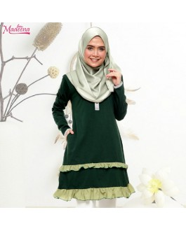 Baju Muslimah Ruffle Layer -Emerald Green (Poket)