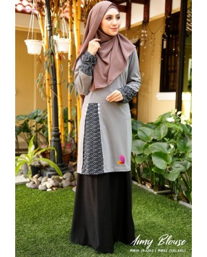 Muslimah4u Aimy Blouse Dark Grey
