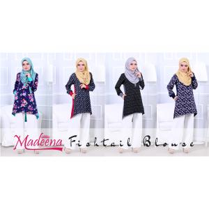 Baju Muslimah MED0087C Royal Grey Abstract