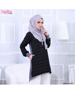 Baju Muslimah MED0087C Royal Grey Abstract