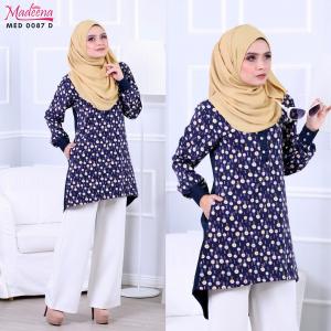Baju Muslimah MED0087D Navy Blue Floral