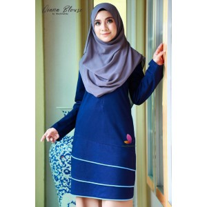 Muslimah4u Qiana Blouse Navy Blue