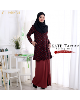 Kurung Riau KATE TARTAN Burgundy Red