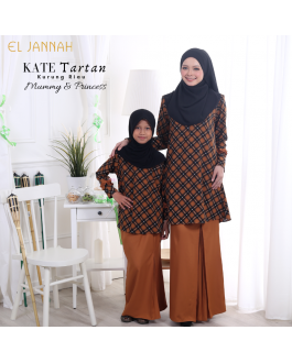 Kurung Riau Girl KATE TARTAN Yellow Marigold