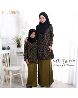 Kurung Riau Girl KATE TARTAN Olive Green