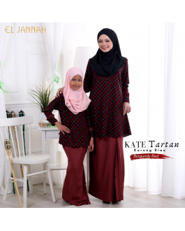 Kurung Riau Girl KATE TARTAN Burgundy Red