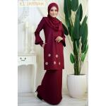 El Jannah Baju Kurung Maroon Dokoh