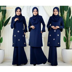 El Jannah Baju Kurung Navy Blue Dokoh