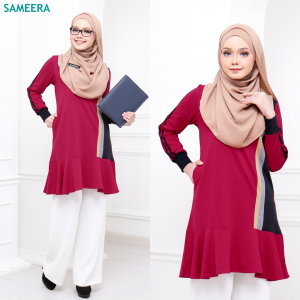 Baju Muslimah Sport Velvet Women (Maroon)