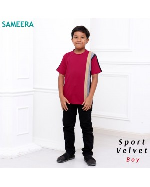 Boy Tshirt Sport Velvet (Maroon)