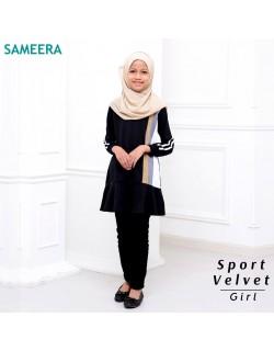 Girl Muslimah Shirt Sport Velvet (Black)