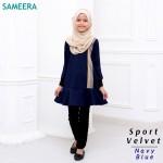 Girl Muslimah Shirt Sport Velvet (Navy Blue)