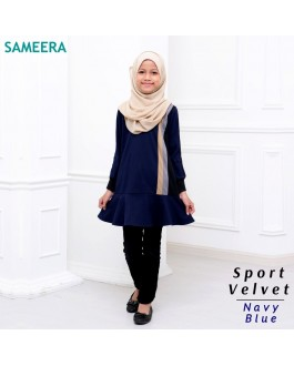 Girl Muslimah Shirt Sport Velvet (Navy Blue)