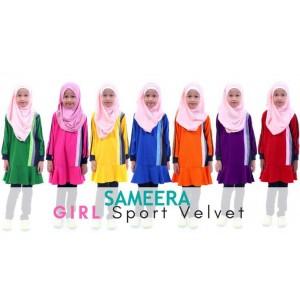 Girl Muslimah Shirt Sport Velvet (Maroon)