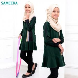 Girl Muslimah Shirt Sport Velvet (Emerald Green)