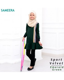 Girl Muslimah Shirt Sport Velvet (Emerald Green)