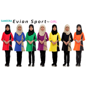 Girl Muslimah Shirt EVIAN SPORT (Black)