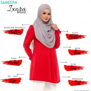 Blouse Muslimah IXORA Crimson Red