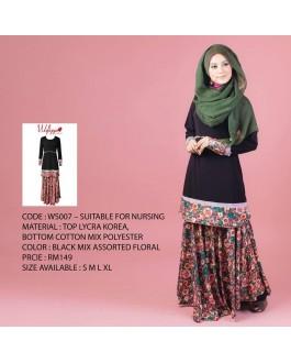 Baju Kurung Wafiyya WS007(Black)