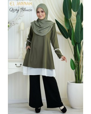 El Jannah Qisty Blouse Army Green